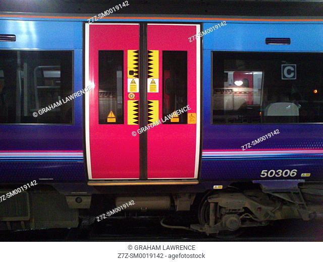 Train carriage at Manchester Piccadilly Station, UK
