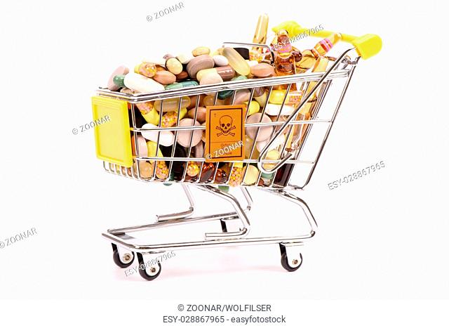 trolley with medical pills and tablets