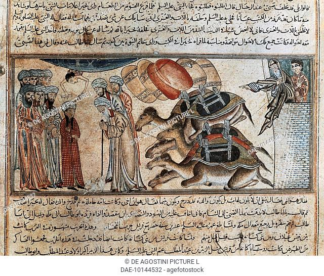 Young Muhammad meets the monk Bahira who revealed his visions of the boy's future, miniature from Jami' al-Tavarikh (The Universal History or Compendium of...