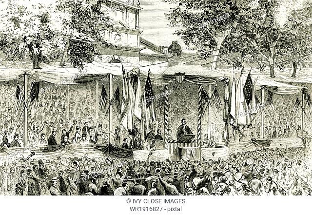 This 1876 illustration shows the reading of the original Declaration of Independence in Philadelphia on July 4, 1876 at Independence Hall in Philadelphia...