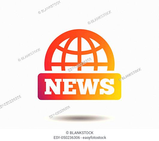 News sign icon. World globe symbol. Blurred gradient design element. Vivid graphic flat icon. Vector