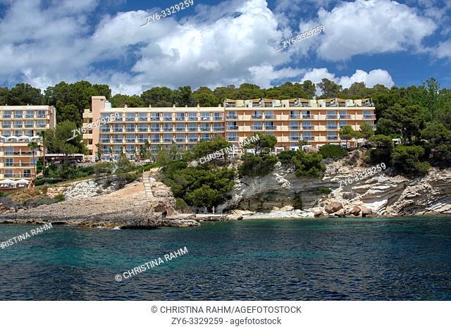 SANTA PONSA, MALLORCA, SPAIN - MAY 29, 2019: Iberostar Jardin del Sol Beach hotel resort from sea in rocky landscape on May 29, 2019 in Santa Ponsa, Mallorca