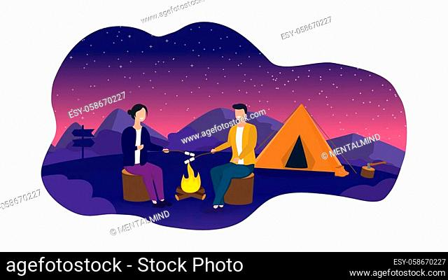 Vector Illustration of couple cooking marshmallows over fire while camping under starry night sky
