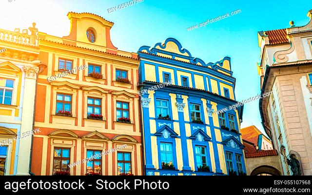Coloured houses on Old Town Square in Prague at sunrise