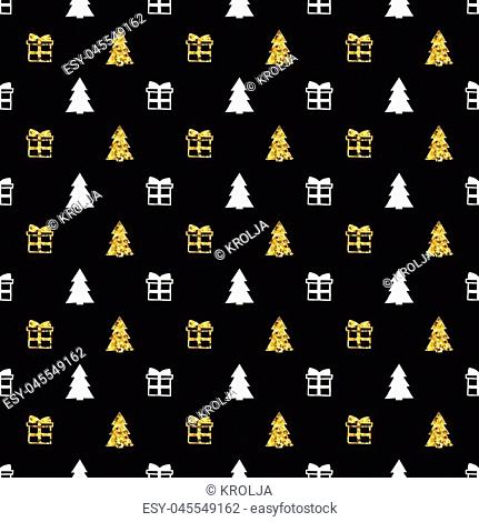 Christmas New Year seamless pattern with gift christmas tree. Holiday background. Gold white gift. Xmas winter doodle decoration. Golden texture