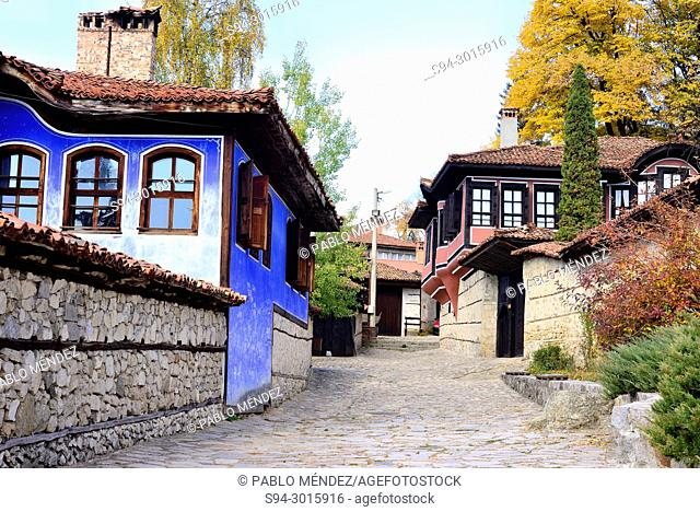 Painted mansions in a street of Koprivstica, Bulgaria