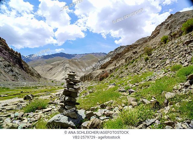 Stone pile. Trekking in Markha valley (Laddakh, India)