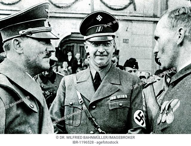 Adolf Hitler and Konrad Henlein, Reichsstatthalter imperial lieutenant and Gauleiter regional branche leader, historical photo circa 1937
