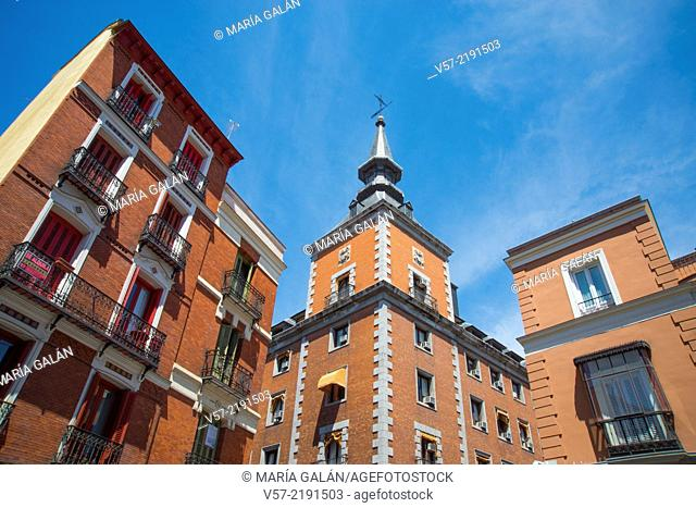 Facade of Santa Cruz Palace viewed from Concepcion Jeronima street. Madrid, Spain