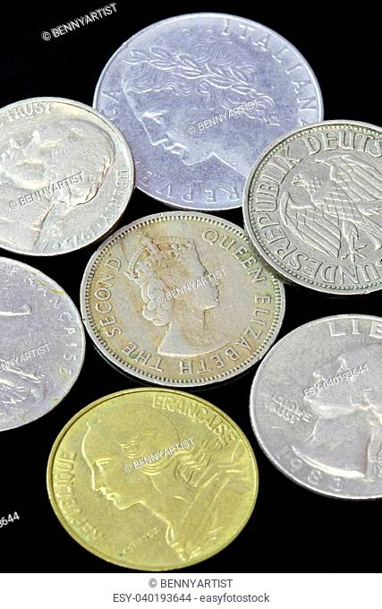 Old coins of different nationalities, from different periods