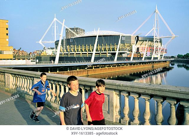Millennium Stadium, Cardiff, Wales, UK  Boys in football shirts