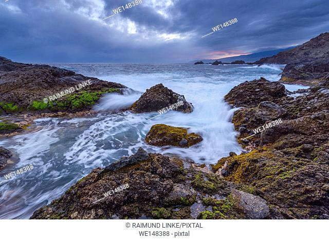 Lava rock coast at Dawn, Charco del Viento, La Guancha, Tenerife, Canary Islands, Spain