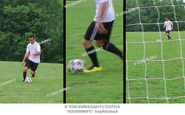 Male soccer player montage
