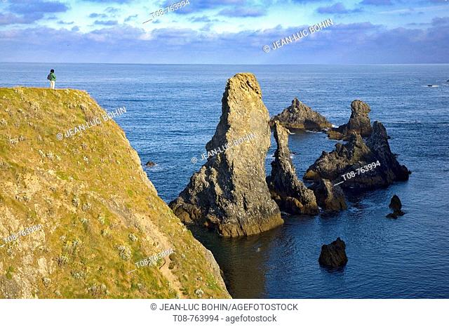 Brittany, Belle-Ile, wild coast: 'aiguilles'