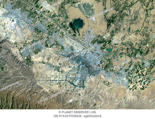 Colour satellite image of Ashgabat, Turkmenistan. Image taken on September 7, 2014 with Landsat 8 data