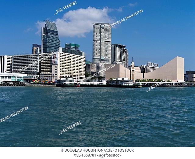 TSIM SHA TSUI HONG KONG Tsim Sha Tsui Star Ferry pier Kowloon Clock waterfront skyscraper buildings