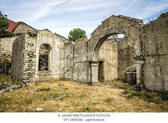 Remains of the church of Ribadelago Viejo destroyed on January 1, 1944 in the floods after the rupture of the dam of El Lago de Sanabria Natural Park