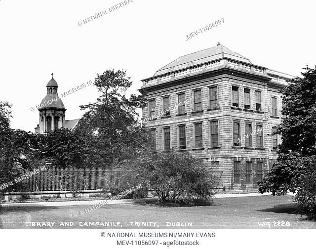 Library and Campanile, Trinity, Dublin - an oblique view of the library and campanile in the background. (Location: Republic of Ireland; County Dublin; Dublin)