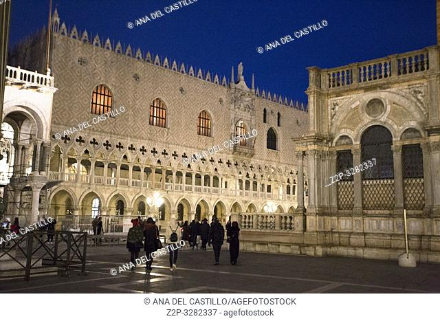 Venice Veneto Italy on January 19, 2019: Twilight at Saint Marks square