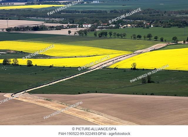 14 May 2019, Mecklenburg-Western Pomerania, Anklam: The route for the European Gas Link EUGAL, which starts in Lubmin at the Nord Stream 2 landing site and runs...