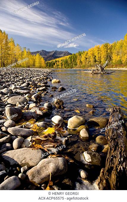 Elk River and Lizard Range in autumn, Fernie, BC, Canada