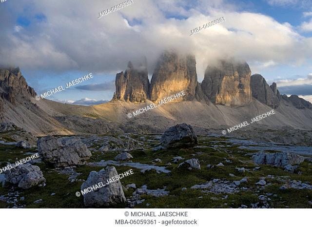 Tre Cime di Lavaredo / Drei Zinnen (mountain) in the evening light, Sextner Dolomites nature reserve