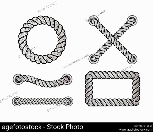 Rope for decoration and covering, nautical twisted rope knots. Round and square rope frames, cord borders. Decoration elements. Vector illustration