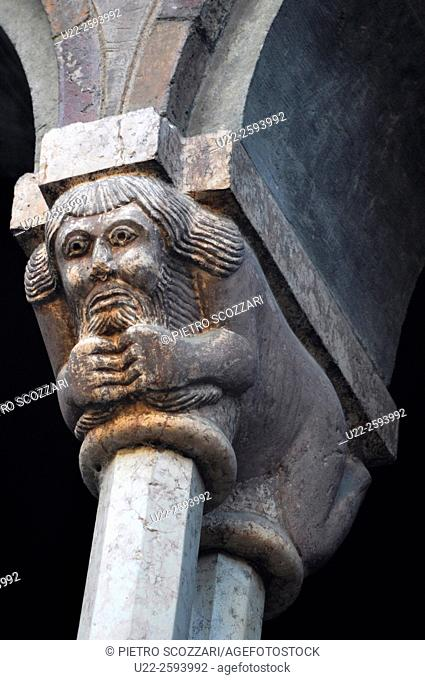 Italy, Emilia Romagna, Bologna, column and capital at Santo Stefano Basilica...