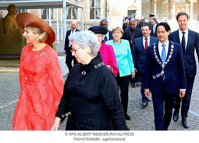 Middelburg, 21-04-2016 HM Queen Máxima, HRH Princess Beatrix, dr. Angela Merkel and Anna Eleanor Roosevelt and Prime Minister Mark Rutte arrival at the Nieuwe...