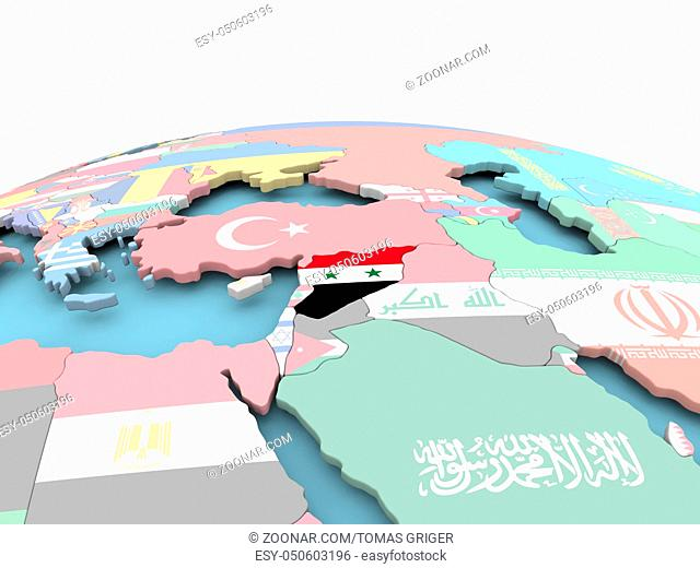 Syria on political globe with embedded flags. 3D illustration