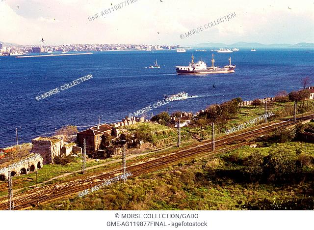 View of the Bosphorus strait, from the top of the Topkaki Palace, facing south toward the Sea of Marmara, in Istanbul, Turkey, November, 1973