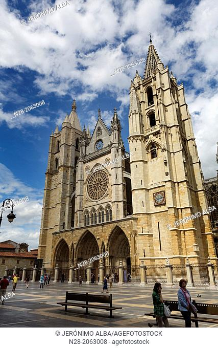 Gothic style Cathedral, Leon, Way of St James, Castilla-Leon, Spain