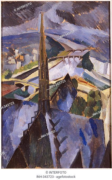 fine arts, Delaunay, Robert, 1885 - 1941, painting, 'ridge turret of Notre Dame', Pinakothek of Modern Art, Munich, historic, historical, Europe, France