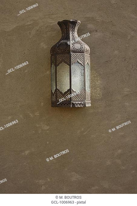 Traditional Arabic lamp on a wall