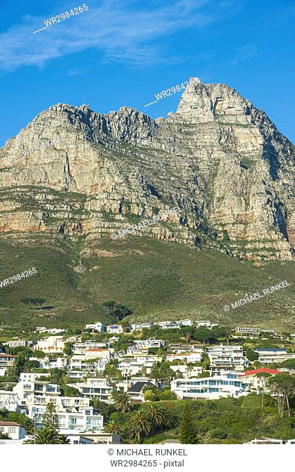 Camps Bay with the Table Mountain in the background, suburb of Cape Town, South Africa, Africa