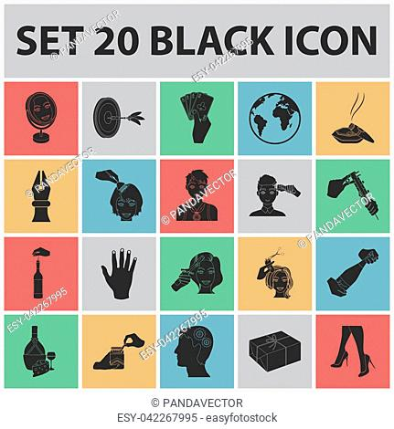 Manipulation by hands black icons in set collection for design. Hand movement bitmap symbol stock illustration