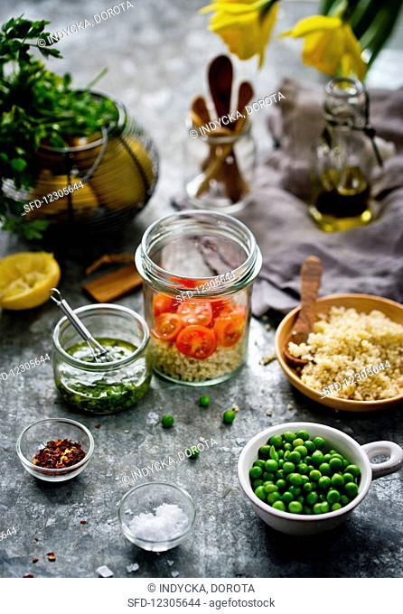 Millet salad in a glass jar