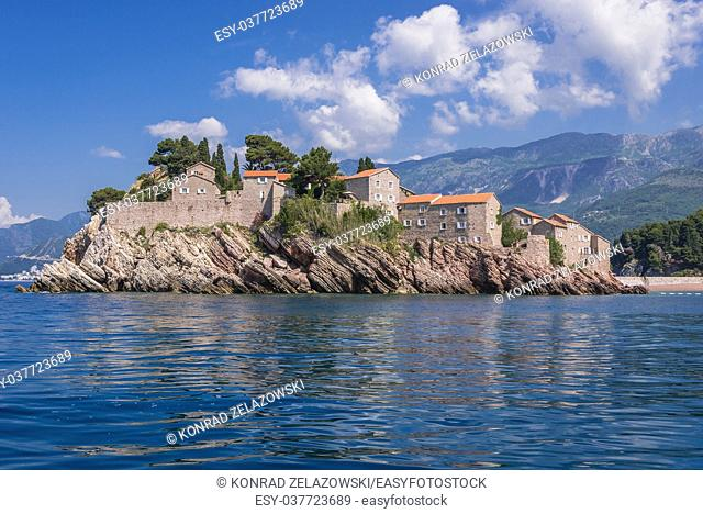 Sveti Stefan islet and five star hotel resort on the Adriatic coast of Montenegro