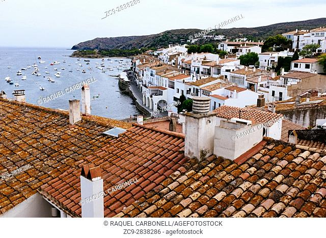 Elevated view of white town by sea. Cadaqués, Alt Amporda, Girona province, Catalonia, Spain