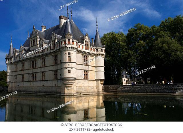 Azay le Rideau Castle, UNESCO World Heritage Site, Indre et Loire, Touraine, Loire Valley, France, Europe