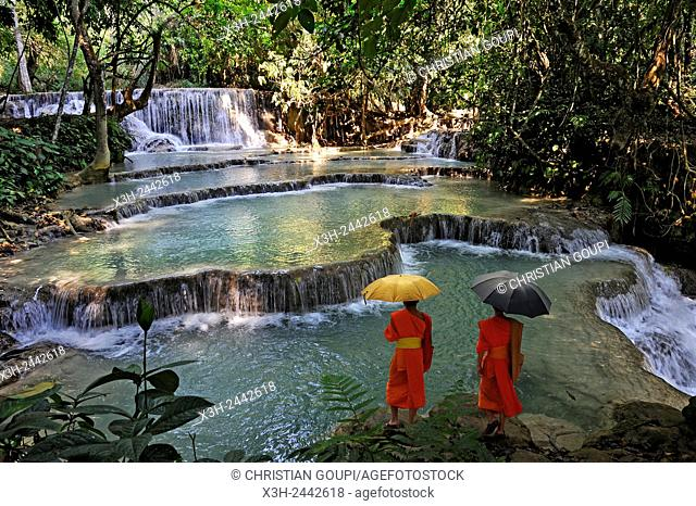 mongs at Kuang Si waterfalls, Luang Prabang, Laos, Southeast Asia