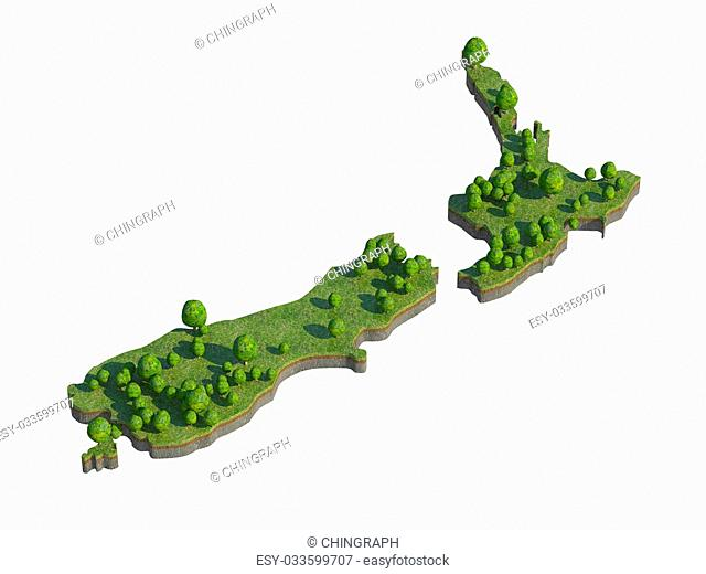 3d render of new zealand map section cut isolated on white with clipping path