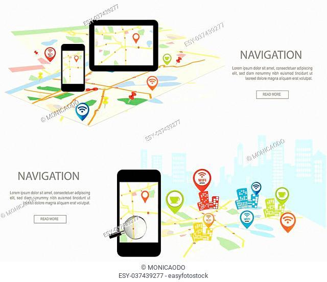 Mobile navigation concept. Modern set of flat design banner with city map, gps navigator on smartphone and tablet screen