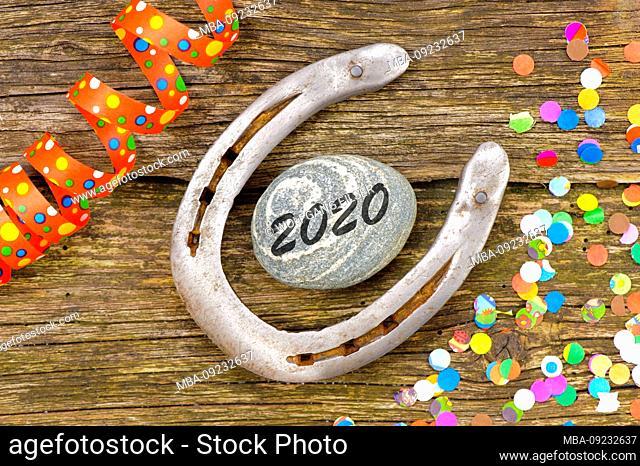 New Year's Eve and New Year 2020, horseshoe, lucky symbols