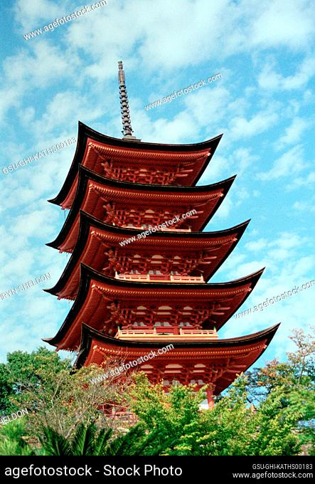 Low Angle View of Five-Tiered Pagoda at Itsukushima Shrine, Miyajima, Japan