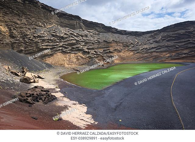 Volcanic green lake (El charco de los clicos) in Lanzarote, Canary islands, Spain