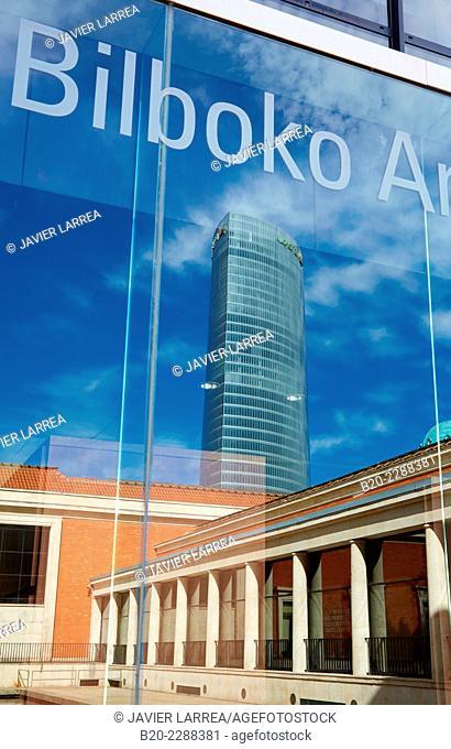 Bilbao Fine Arts Museum, Iberdrola tower, Bilbao, Bizkaia, Basque Country, Spain