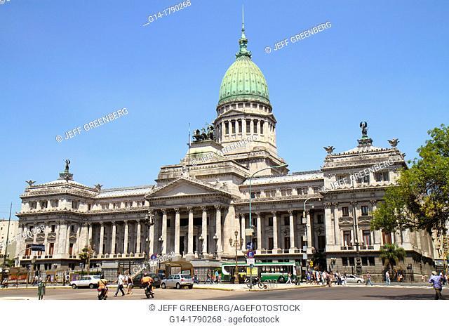 Argentina, Buenos Aires, Avenida Rivadavia, Hispanic, Palacio del Congreso de la Nacion, Natinoal Congress Palace, capitol, landmark, architect Vittorio Meano