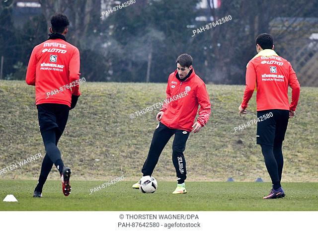 The new player of Mainz 05 Bojan Krkic Perez partakes in a traning session in Mainz, Germany, 30 January 2017. Mainz 05 is borrowing the striker until the end...