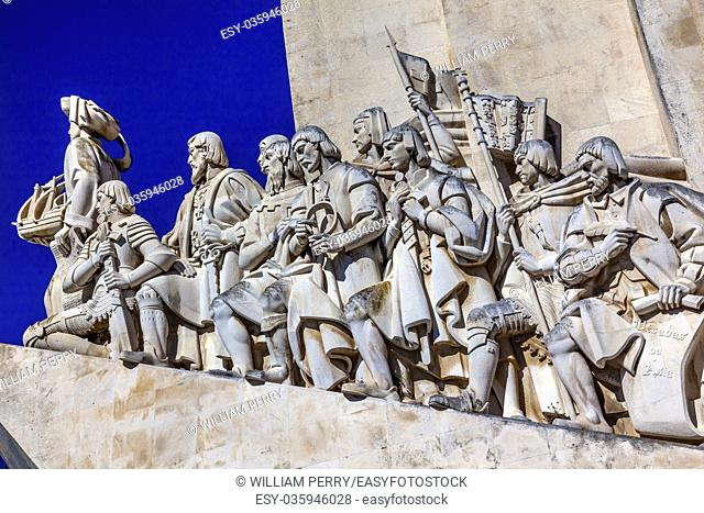 Monument to Diiscoveries Explorers Padrao dos Descobrimentos Tagus River Belem Lisbon Portugal. The monument was conceived by Portuguese Continellis and...